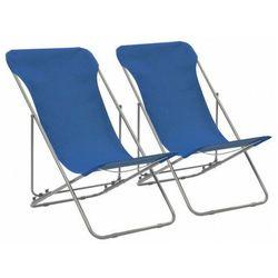 Vidaxl krzesła plażowe, 2 szt., stal i tkanina oxford, niebieskie marki Elior