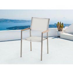 Meble ogrodowe białe - krzesło ogrodowe - balkonowe - tarasowe - GROSSETO (7081451501073)