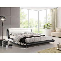 Nowoczesne łóżko biało-czarna skóra 180x200 cm ze stelażem NIZZA