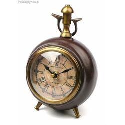 Zegar stojący skórzano-mosiężny