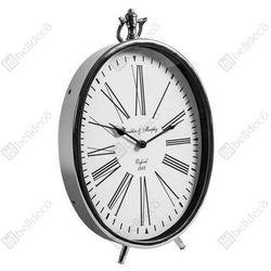Zegar stojący GABINET C528232 Belldeco owalny srebrny biały, kolor Biały