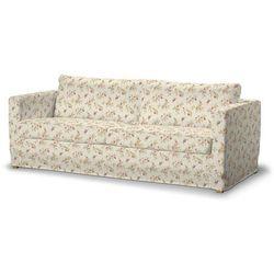 Dekoria Pokrowiec na sofę Karlstad 3-osobową nierozkładaną, długi, czerwono-bordowe kwiaty na kremowym tle, Sofa Karlstad 3-osobowa, Mirella