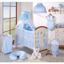 pościel 5-el miś z serduszkiem w błękicie do łóżeczka 60x120cm - szyfon marki Mamo-tato