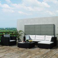 vidaXL Sofa ogrodowa Meble ogrodowe Zestaw 17 części czarny rattan PE