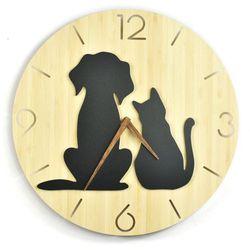 Zegar ścienny - Wild I - Dog&Cat