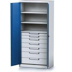 Szafa warsztatowa mechanic, 1950 x 920 x 500 mm, 3 półki, 7 szuflad, niebieskie drzwi marki Alfa 3