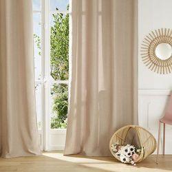 Zasłona okienna, metalowe zakończenie otworów na karnisz, kolor beżowy, wykonana z wytrzymałego poliestru, wymiary 260 x 140 cm marki Atmosphera créateur d'intérieur