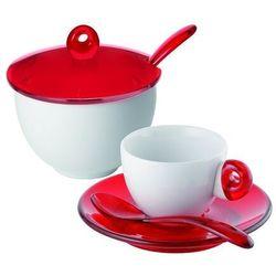 - komplet 2 filiżanek do espresso i cukiernica - art & cafe - czerwone marki Guzzini