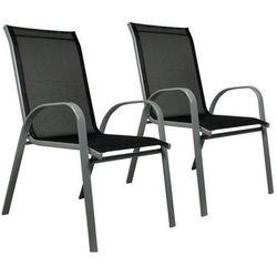 Zestaw 2x ogrodowe krzesło do układania w stos z wysokim oparciem