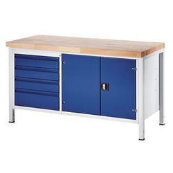 Rau Stół warsztatowy, stabilny, 4 szuflady w rozmiarze l, 1 szafka na narzędzia, głę