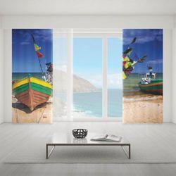Zasłona okienna na wymiar komplet - FISHING BOATS