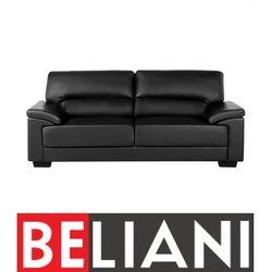 Beliani Sofa czarna - trzyosobowa - kanapa - skóra ekologiczna - vogar (4260580928606)