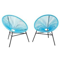 Beliani Zestaw 2 krzeseł rattanowych niebieskie acapulco