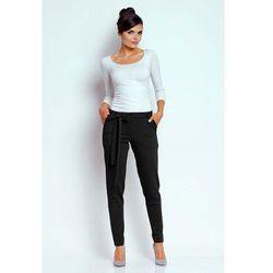 Czarne Stylowe Spodnie z Wiązaną Szarfą, w 5 rozmiarach