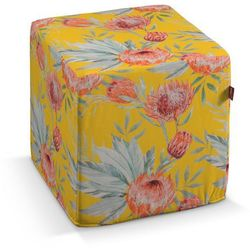 pufa kostka, pomarańczowe kwiaty na żółtym tle, 40 × 40 × 40 cm, new art marki Dekoria