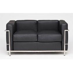 Sofa 2-osobowa kubik czarna skóra tp modern house bogata chata marki D2.design