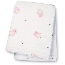 Kocyk - otulacz muślinowy  (120x120) różowe sowy marki Lulujo