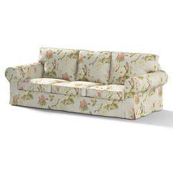 pokrowiec na sofę ektorp 3-osobową, nierozkładaną, duże kwiaty na jasno-błękitnym tle, sofa ektorp 3-osobowa, londres marki Dekoria