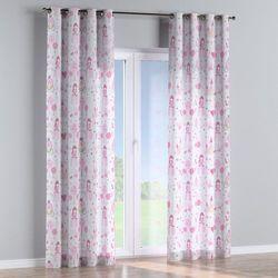 Dekoria Zasłona na kółkach 1 szt., różowo-szare wzory na białym tle, 1szt 130x260 cm, Little World