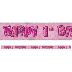 Baner happy birthday różowy na roczek - 360 cm - 1 szt. marki Unique
