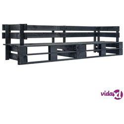 Vidaxl 2-osobowa sofa ogrodowa z palet, czarna, drewno fsc (8719883709215)