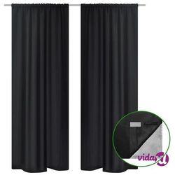 vidaXL Czarne zasłony zaciemniające pomieszczenie Blackout x2 140 x 245 cm (8718475898795)