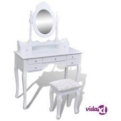toaletka z lustrem i stołkiem, 7 szuflad, biała marki Vidaxl