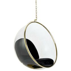 Fotel wiszący BUBBLE GOLD poduszka czarna - korpus akryl, welur