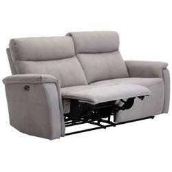 Vente-unique Sofa 3-osobowa henel z tkaniny, z elektryczną funkcją relaksu – kolor beżowy