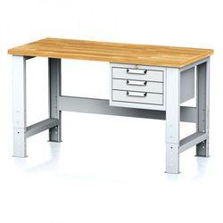 Stół warsztatowy MECHANIC, 1500x700x700-1055 mm, nogi regulowane, 1x szufladowy kontener, 3 szuflady, szare