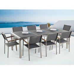 Meble ogrodowe - stół granitowy 220 cm czarny palony z 8 szarymi krzesłami - GROSSETO - produkt z kategorii- Zestawy ogrodowe