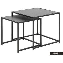 SELSEY Zestaw dwóch stolików kawowych Krapina 50x50 cm i 45x45 cm szare (5903025329338)