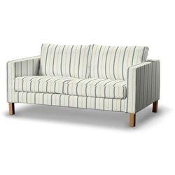 Dekoria Pokrowiec na sofę Karlstad 2-osobową nierozkładaną krótki, ecru tło, niebieskie paski, Sofa Karlstad 2-osobowa, Avinon