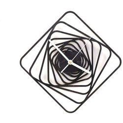 Congee.pl Drewniany zegar na ścianę kwadratowe spirale z białymi wskazówkami