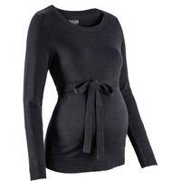 Sweter ciążowy z 100% bawełny, z wiązanym paskiem bonprix czarny, w 4 rozmiarach