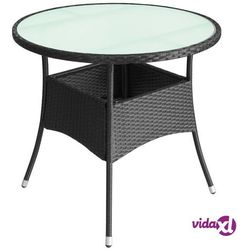 Vidaxl stolik ogrodowy z polirattanu, 80x74 cm, czarny