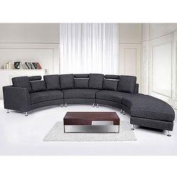 Pólokragla sofa tapicerowana - kanapa szara - tkanina obiciowa - ROTUNDE - sprawdź w Beliani