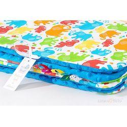 komplet kocyk minky do wózka + poduszka słonie kolorowe / niebieski marki Mamo-tato