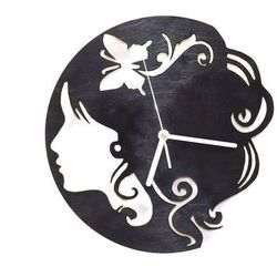 Congee.pl Drewniany zegar na ścianę twarz kobiety z białymi wskazówkami