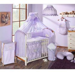 pościel 15-el śpiący miś w fiolecie do łóżeczka 60x120cm - moskitiera marki Mamo-tato