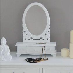 Stylowa toaletka z serii Romantic, trzy szufladki, lustro, matowa biel.