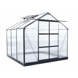 Vente-unique Szklarnia ogrodowa z poliwęglanu o pow. 5,9 m² anissa z podstawą - metaliczny szary