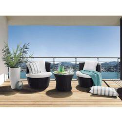 Beliani Rattan meble ogrodowe 1 x stolik, 2 x fotele taras weranda capri