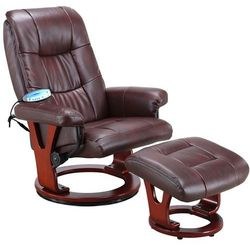 Brązowy fotel masujący wypoczynkowy biurowy masaż grzanie - brązowy marki Regoline