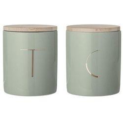 Bloomingville Ceramiczne pojemniki kuchenne z pokrywką, 2 szt, zieleń -