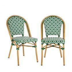 Blumfeldt montbazin gr krzesło możliwość ułożenia jedno na drugim rama aluminiowa polirattan zielony