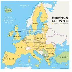 Fototapeta Kraje Unii Europejskiej Mapa polityczna 2015 - produkt dostępny w REDRO