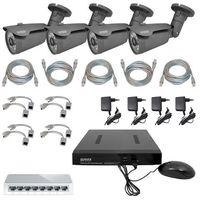 Zestaw do monitoringu '' pro'' msp-05c5 (1mpx) 4 x kamera cba-02c5 rejestrator, switch, 4 x zasilacz, 4 x adap