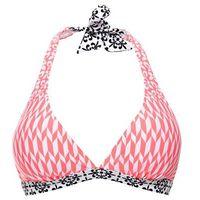 Biustonosz bikini z ramiączkami wiązanymi na szyi bonprix koralowo-biały wzorzysty, w 2 rozmiarach