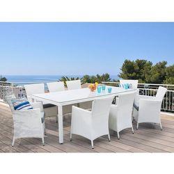 Stół ogrodowy rattanowy 220 cm z 8 rattanowymi krzesłami - italy marki Beliani